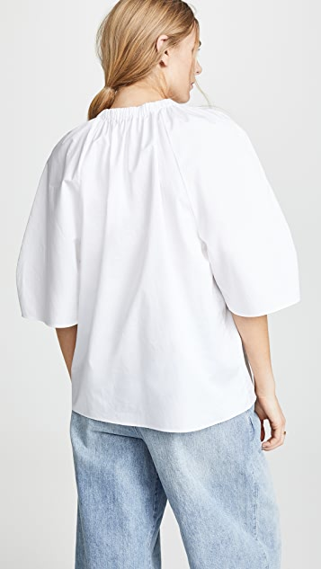 Tibi Deep V Neck Shirred Top