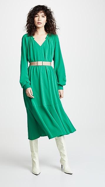 Tibi Split Neck Ruffle Dress with Slip