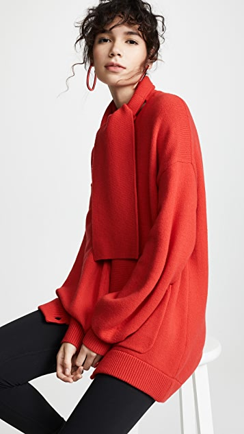 Tibi Tie Collar Oversized Cardigan