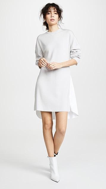 Tibi Короткое комбинированное платье-рубашка