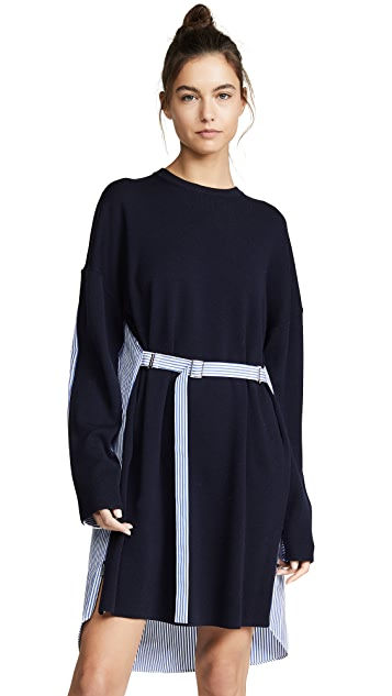 Tibi Shirt Combo Short Dress