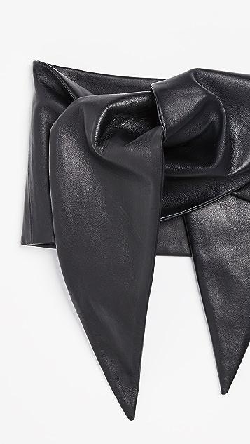Tibi Tissue Leather Tie Belt