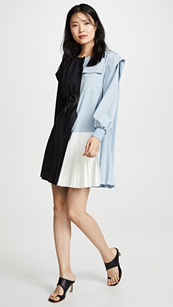 Tibi Long Sleeve Pleated Dress