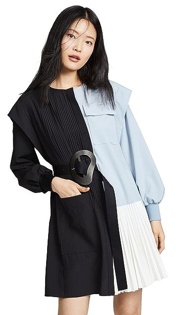Tibi Long Sleeve Pleated Dress