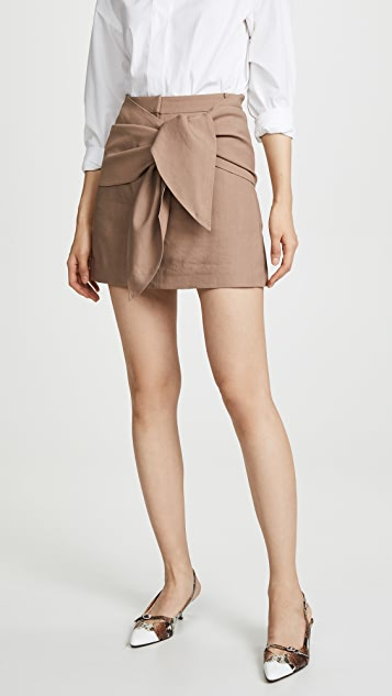 Tibi Miniskirt with Removable Tie - Sable Brown