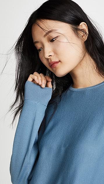 Tibi Tie Peplum Woven Back Pullover