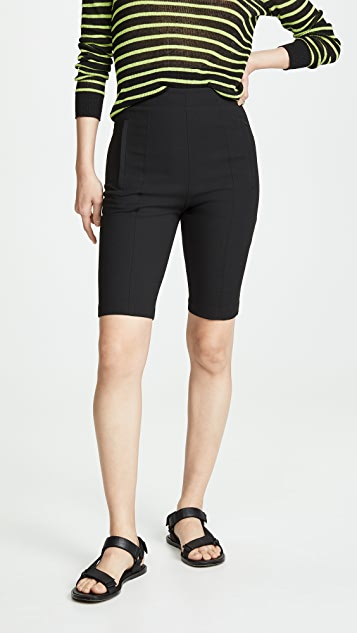 Tibi High Waisted Biker Shorts