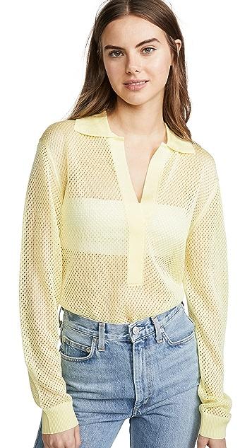 Tibi Сетчатый пуловер с воротником поло