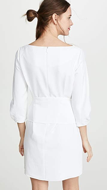 Tibi Shirred Sleeve Dress with Removable Belt
