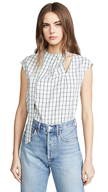 Tibi Sleeveless Pleated Tie Top