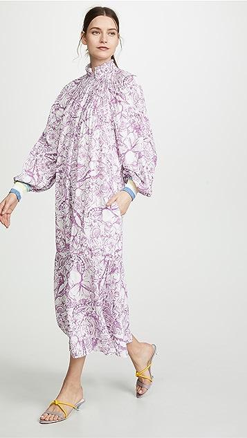Tibi Edwardian Dress with Ribbed Cuffs - White/Purple