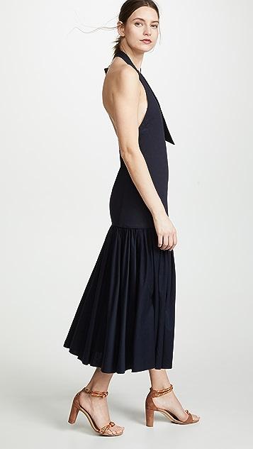 Tibi Deep V Neck Halter Dress