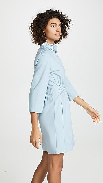 Tibi Mini Zip Up Shirred Dress