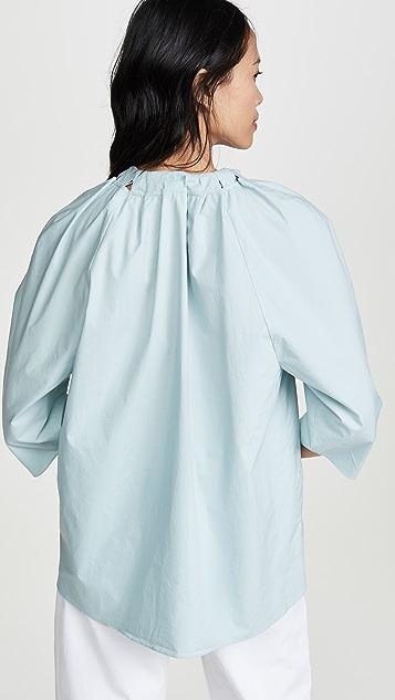 Tibi 七分袖颈部绑带上衣