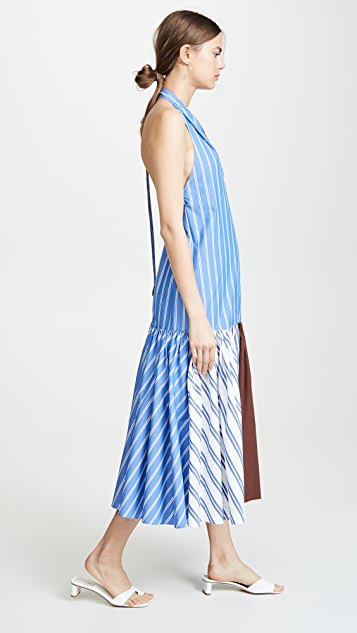Tibi Deep V-Neck Halter Dress