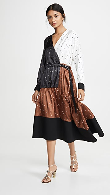 Tibi Patchwork Wrap Dress