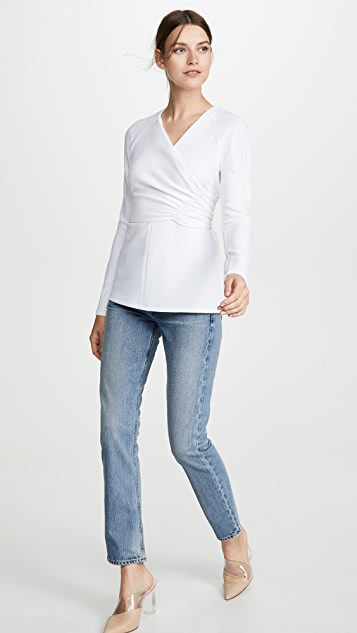 Tibi V Neck Wrap Top