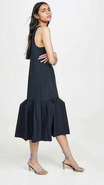 Tibi Скульптурное расклешенное длинное платье
