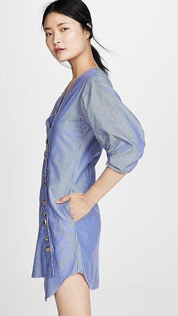 Tibi 条纹不对称衬衣连衣裙