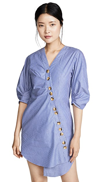 Tibi Striped Asymmetrical Shirtdress