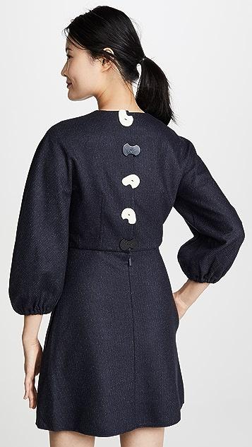 Tibi Sculpted Button Back Mini Dress