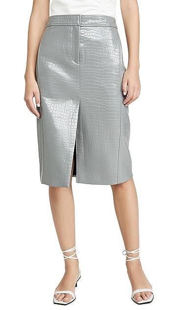 Tibi Юбка-брюки с тиснением под крокодила