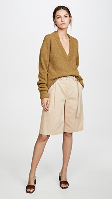 Tibi V Neck Pullover with Arm Band Cuffs