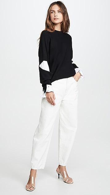 Tibi Double Layered Slit Sleeve Pullover