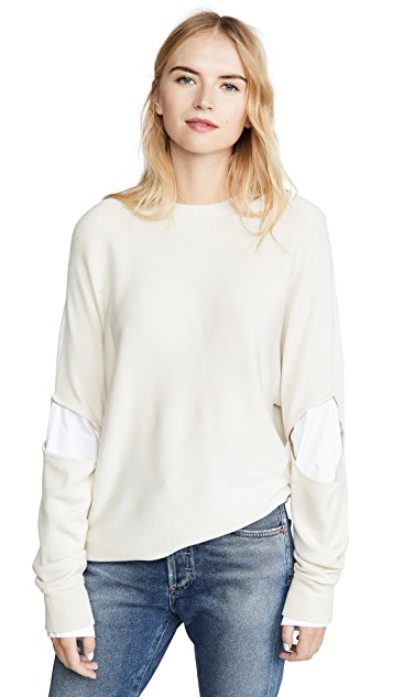 Tibi Double Layered Slit Sleeve Pullover
