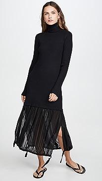Wool Gauze Layered Ribbed Dress