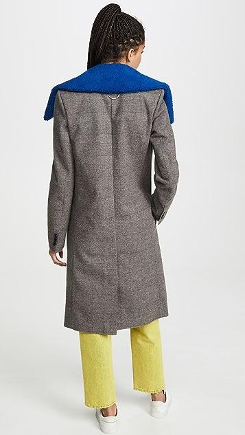 Tibi Пальто со съемным воротником из искусственного меха