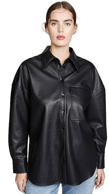 Tibi Практичная рубашка из искусственной кожи