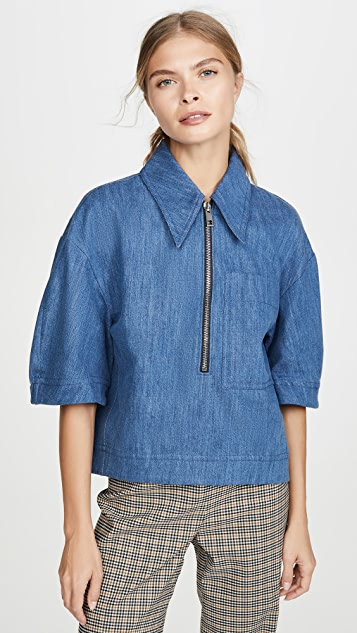 Tibi Sculpted Polo Zip Up Top