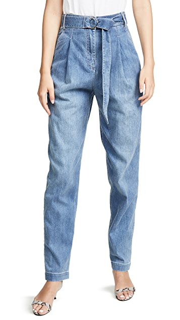 Tibi Denim Sculpted Pleat Pants
