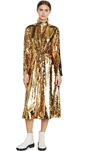 Tibi Split Neck Sequin Dress