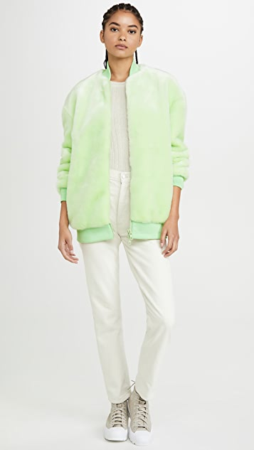 Tibi Coats Zip Up Faux Fur Jacket