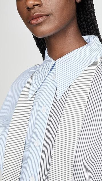 Tibi Рубашка Easy с отделкой молниями