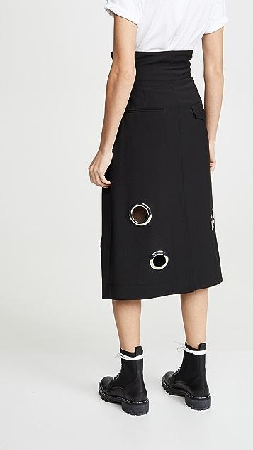 Tibi 纸包金属扣眼半身裙
