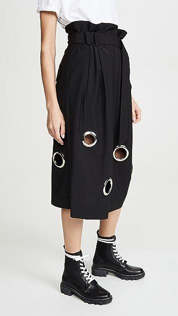 Tibi Paper Bag Grommet Skirt