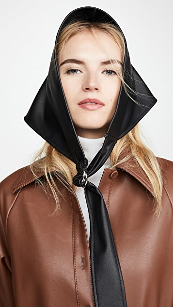Tibi Faux Leather Babushka Scarf