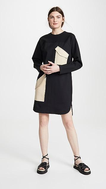 Tibi 粘合弹性贴片连衣裙