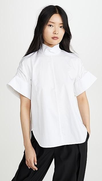 Tibi Shirred Sleeve Top