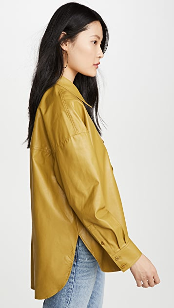 Tibi Relaxed Faux Leather Utility Shirt