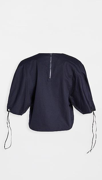 Tibi Drawcord Sleeve Top