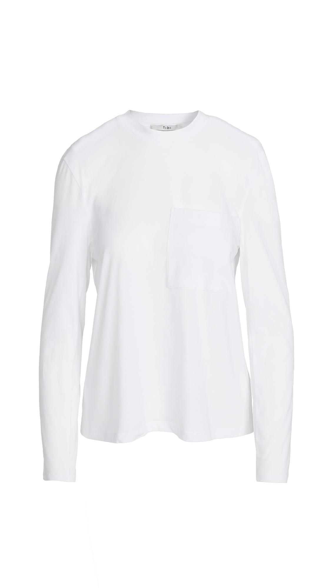 Tibi Tess T-Shirt with Detachable Shoulder Pads