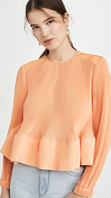 Tibi Yoke Pleated Top