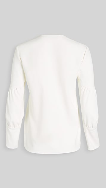 Tibi Chalky Drape V Neck Long Sleeve Top