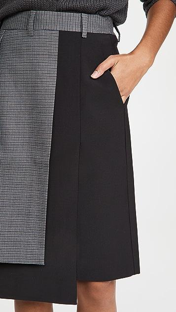 Tibi Auguste Houndstooth Flap Skirt