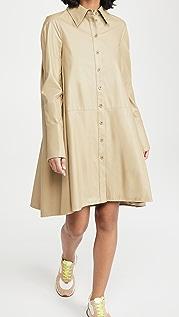Tibi 人造皮衬衫裙