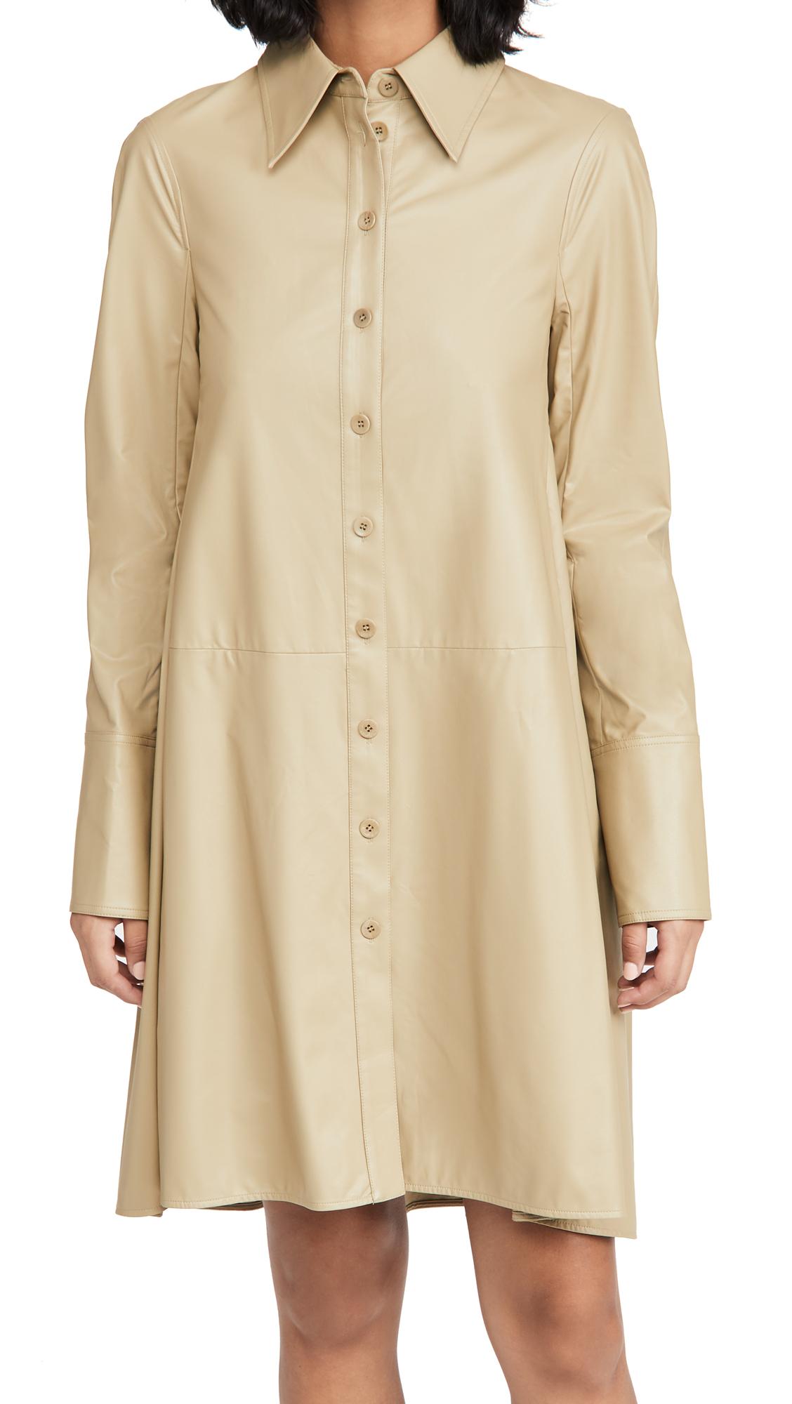 Tibi Faux Leather Shirtdress